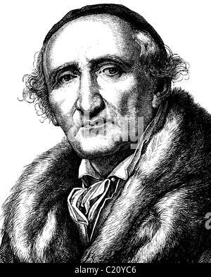 L'amélioration de l'image numérique de Johann Gottfried Schadow, 1764 - 1850, portrait, illustration historique, 1880
