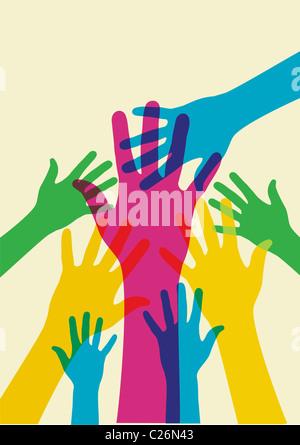Mains multicolores sur une illustration fond clair. Fichier vecteur disponible. Banque D'Images