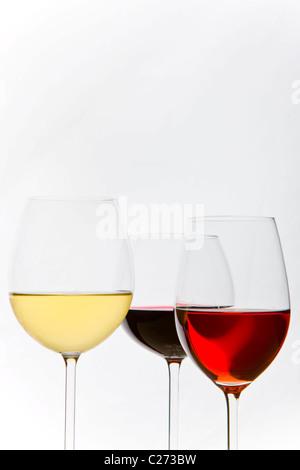 Verres de blanc, rouge et rosé