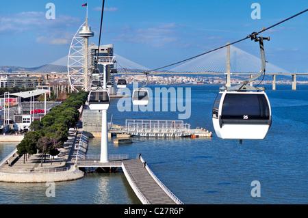 Portugal, Lisbonne: Téléphérique avec vue sur le Tage dans la Nation's Park Banque D'Images