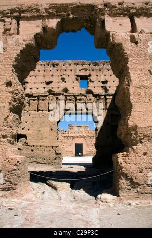 Ruines du palais El Badi, Marrakech, Maroc Banque D'Images