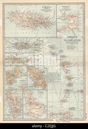 La carte de la Jamaïque et les Petites Antilles
