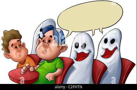Étudiant dans une salle de classe avec beaucoup de fantômes Banque D'Images