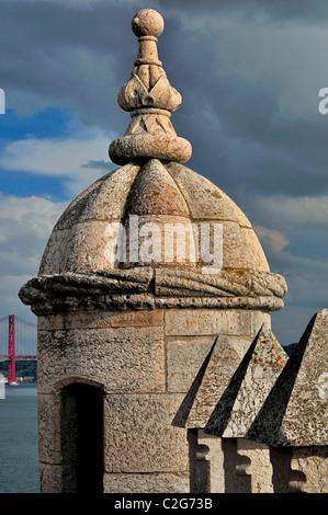 Portugal, Lisbonne: Détail de la Tour de Belém Banque D'Images