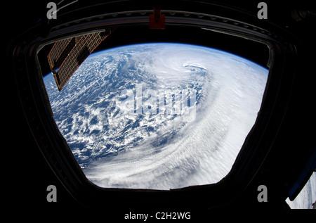 Terre et Océan Pacifique Nord vue depuis la Station spatiale internationale. Banque D'Images