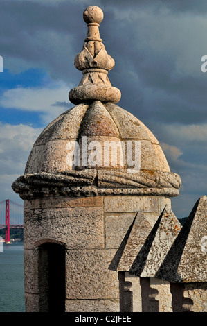 Portugal, Lisbonne: Détail de la Tour de Belém manuélin Banque D'Images