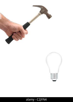 Une ampoule été fracassé avec un marteau Banque D'Images