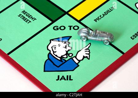 Mauvais pilote; une voiture sur la 'en prison' de l'espace sur un jeu de monopoly board UK