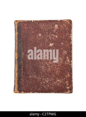 Vieux livre avec l'usure et isolé sur fond blanc Banque D'Images