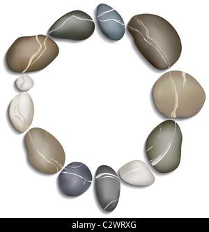 Cercle de douze galets sur un fond blanc Banque D'Images