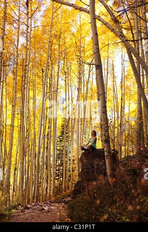 Une jeune femme médite paisiblement sur un rocher au milieu d'une mer de feuilles d'or. Banque D'Images