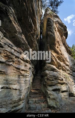 Grâce à l'escalier menant à l'étroite gorge rock formation Perekop à Berdorf, Petite Suisse / Mullerthal, Luxembourg Banque D'Images