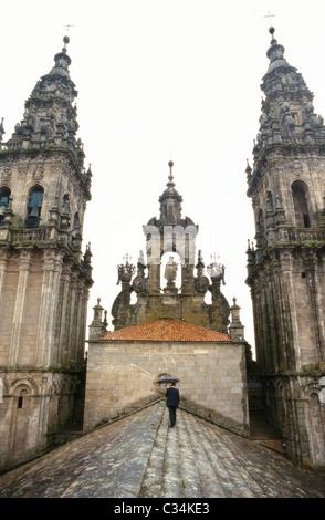 Toit de la cathédrale de Saint-Jacques de Compostelle, La Corogne, Galice.