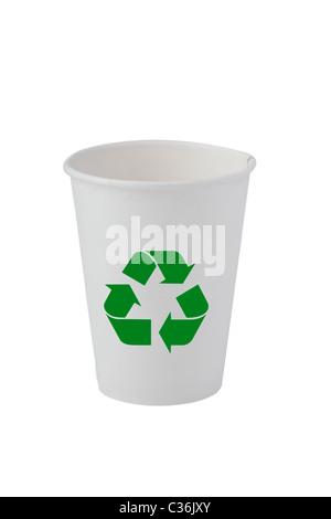 Vue avant du recyclage du papier de verre sur le fond blanc Banque D'Images