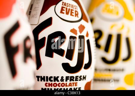Close up de Frijj Milkshake, un produit Dairy Crest. Banque D'Images