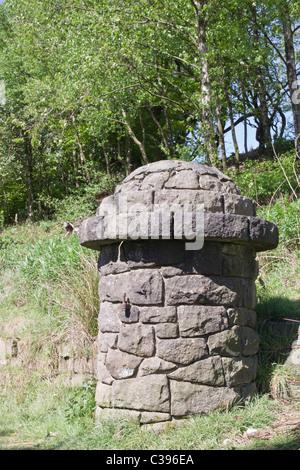 Round Top stone gate poster rivington pike estate lancashire Banque D'Images