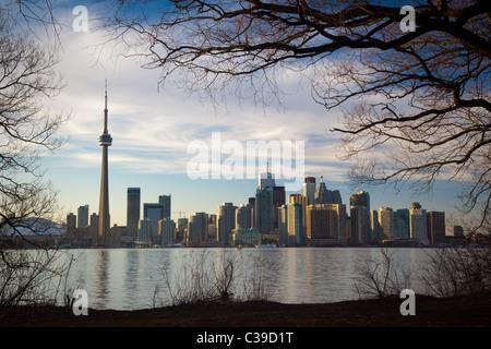Le centre-ville de Toronto Skyline, y compris la Tour CN et le Centre Rogers, comme on le voit dans la fin d'après Banque D'Images