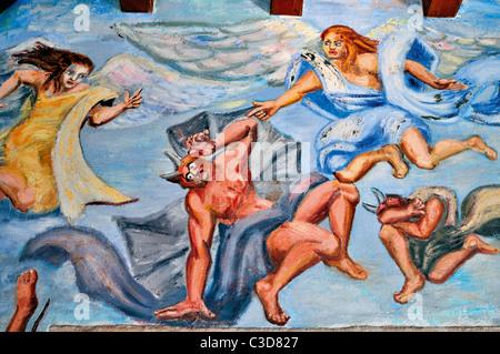 L'Espagne, la Galice: peinture murale de Celia Cortés dans le monastère de Santiago de La Ribera Samos Banque D'Images
