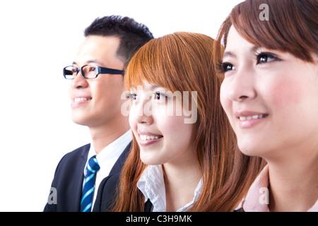 Young smiling business woman et homme d'affaires Banque D'Images