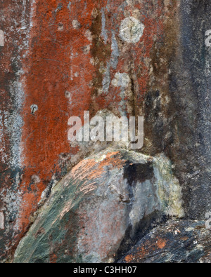 Motifs abstraits formés sur la paroi de rochers couverts de lichen ci-dessous Castle Crag près de Rosthwaite dans Banque D'Images