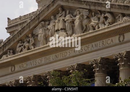 Bâtiment des Archives nationales. Détail extérieur. Washington D.C. United States.