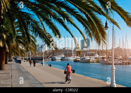 Barcelone, Rambla de Mar, Port Vell Banque D'Images