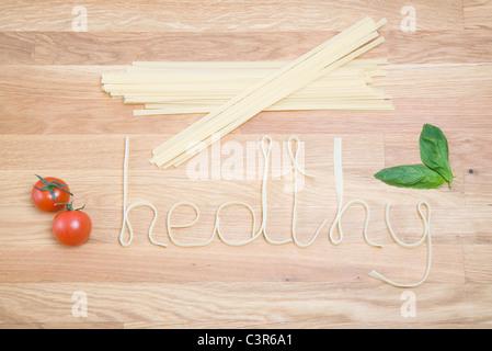L'orthographe du mot pâtes en bonne santé Banque D'Images