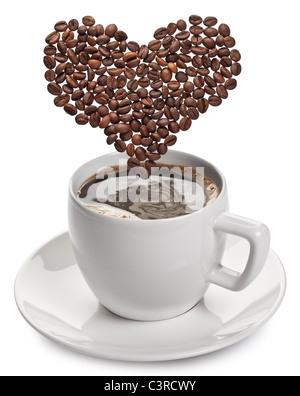 Tasse de café sur un fond blanc.