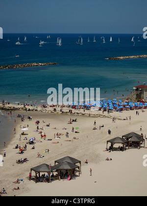 Avis de Frishman au littoral méditerranéen de Tel Aviv en Israël Banque D'Images