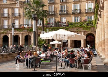 Plaza Nueva Bilbao Espagne Restaurant Bar Pub Cafe Pays Basque Banque D'Images