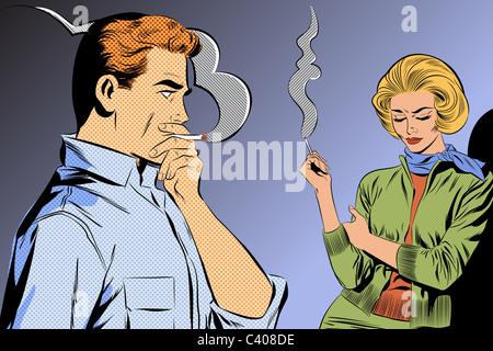 Un rétro style bande dessinée illustration de quelques fumeurs Banque D'Images