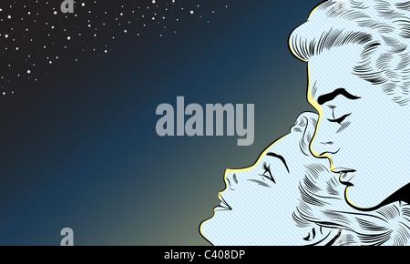 Un rétro style bande dessinée illustration d'un couple regarder les étoiles Banque D'Images