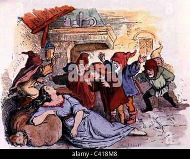 """La littérature, les contes de Grimm, contes de fées, 'Snow White and the seven dwarfs"""" gravure sur bois par Ludwig Banque D'Images"""