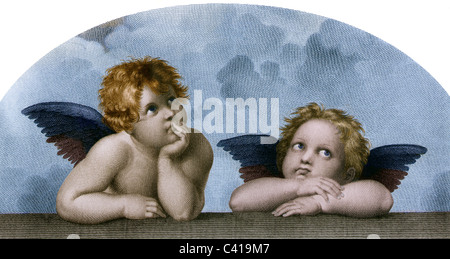 Beaux-arts, Raphael, Santi: 'Les Anges de la Madone Sixtine', phototypie, après une gravure sur cuivre par M. Rommel, Banque D'Images