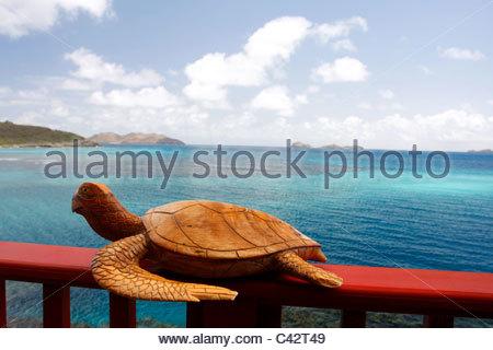 French West Indies, Guadeloupe, Saint Barthélémy, statue d'une tortue Banque D'Images