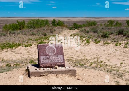 Monument, Sand Creek Massacre National Historic Site, Eads, au Colorado. Banque D'Images