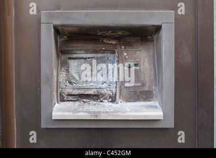 Cash machine atm vandalisés Banque D'Images