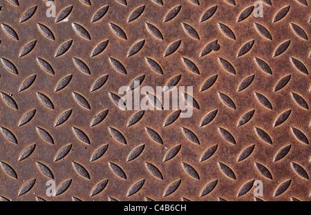 Chequer Rusty metal texture ou d'arrière-plan. Banque D'Images