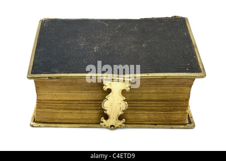 Livre Ancien en cuir isolated over white Banque D'Images