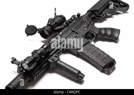 Spec Ops de l'armée américaine M4A1 Carbine agression de construction personnalisée avec RIS/RAS, red dot sight Banque D'Images