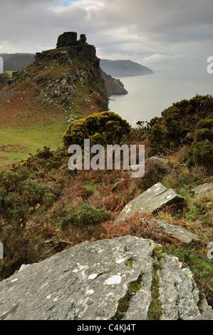 Castle Rock dans la Vallée des roches près de Lynmouth sur Exmoor, Devon, UK Banque D'Images