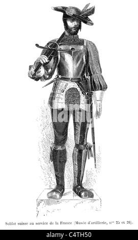 Soldat suisse au service de France sous le règne du roi François 1er Banque D'Images