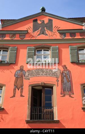 Dinkelsbühl, Bavière, Allemagne. L'architecture bavaroise traditionnelle du xviiie siècle sur de nouveaux détails Banque D'Images