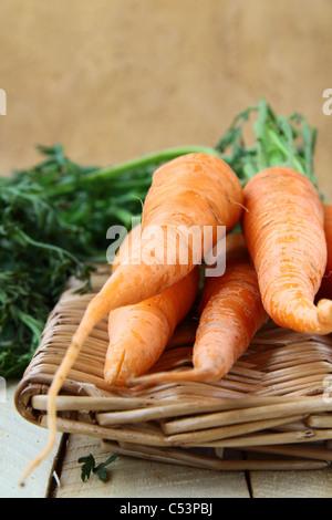 Petites carottes fraîches dans un panier en osier Banque D'Images
