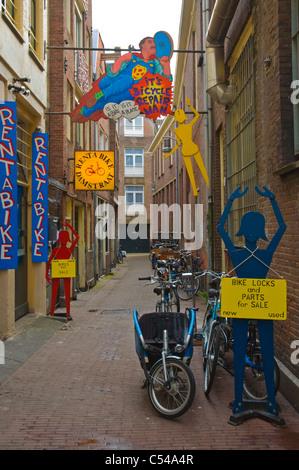 Location de vélos place Amsterdam Pays-Bas Europe Banque D'Images