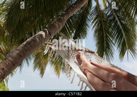Couple laying in hammock sous palm tree Banque D'Images