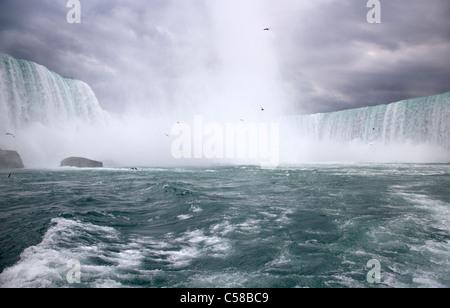 Le Horseshoe Falls vu du Maid of the Mist à niagara falls ontario canada Banque D'Images
