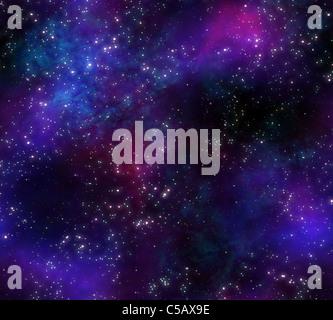 Grand Fond d'étoiles et de nebula dans ciel de nuit Banque D'Images