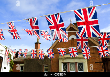 Bunting patriotique contre un ciel bleu, de l'Union. Banque D'Images