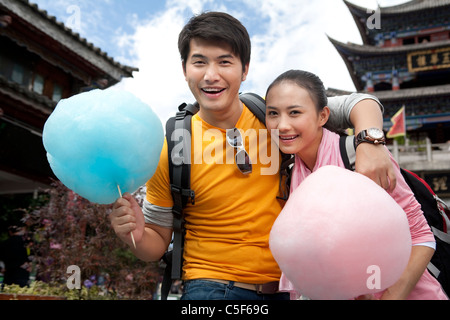 Jeune couple avec Cotton Candy, Dali Banque D'Images